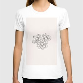Daisy flowers line drawing - Nina I T-shirt