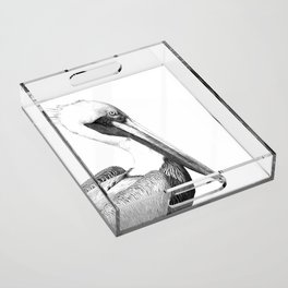 Black and White Pelican Acrylic Tray