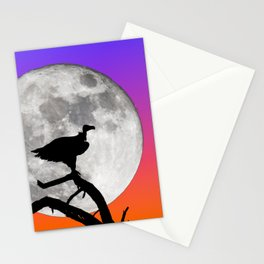 Vulture with Supermoon Stationery Cards