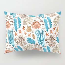 Coral Reef Watercolor Pattern- Teal Pillow Sham