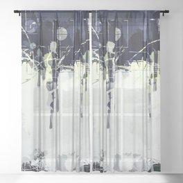 Modern Indigo Eclipse Abstract Design Sheer Curtain