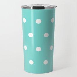 Small White Dots on Aqua Travel Mug