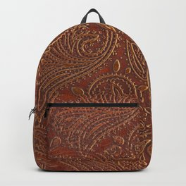 Rusty Tooled Leather Backpack