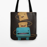 good morning Tote Bags featuring Good Morning by mrbiscuit