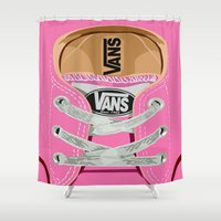 vans Shower Curtains featuring Cute pink Vans all star baby shoes apple iPhone 4 4s 5 5s 5c, ipod, ipad, pillow case and tshirt by Three Second