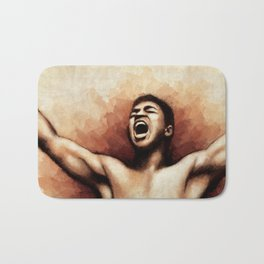 Ali The Greatest - Typographic portrait of boxing legend Bath Mat