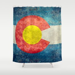 Colorado State flag, Vintage retro style Shower Curtain