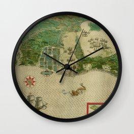 Map Of Cartagena 1588 Wall Clock