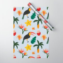 Tropical Jungle Blue Background Wrapping Paper