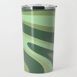 Retro Liquid Swirls Abstract Pattern in Basil and Mint Green Travel Mug