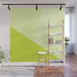 Geometric Lime Grid Collage Wall Mural
