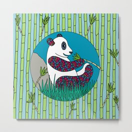 Panda and Bamboo Metal Print
