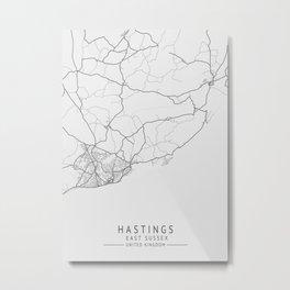 Hastings -  East Sussex UK Gray City Map Metal Print