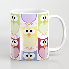 Colorful Owls - Green Blue Purple Yellow Coffee Mug