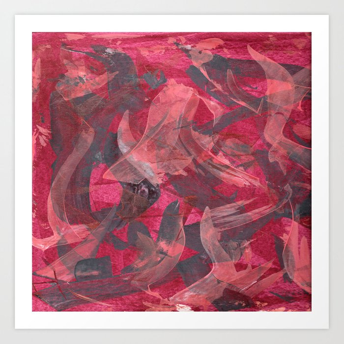 Impetuous, Abstract Art Painting Red Copper Gray Art Print