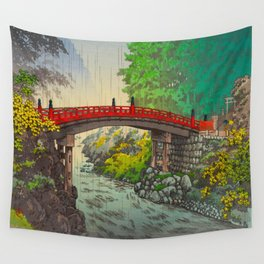 Vintage Japanese Woodblock Print Garden Red Bridge River Rapids Beautiful Green Forest Landscape Wall Tapestry