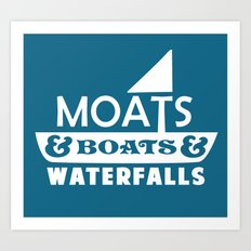 Moats and Boats and Waterfalls Graphic in Blue Art Print
