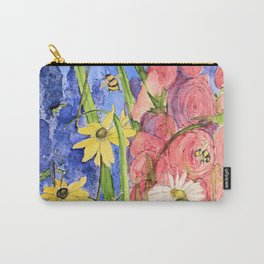 Cottage Garden Delphinium and Hollyhocks Watercolor Carry-All Pouch
