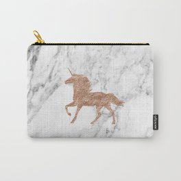 Rose gold unicorn on marble Carry-All Pouch