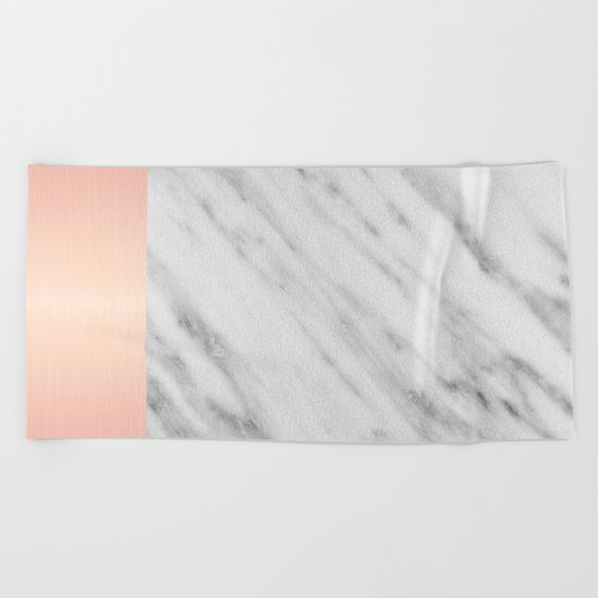 Real Italian Marble and Pink Beach Towel