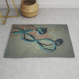 Fishnet with two buoys on rope. Nautical marine concept. Rug