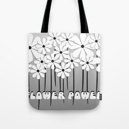 Flower Power in Black and White Tote Bag
