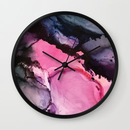 Pink and Navy Alcohol Ink Painting Wall Clock