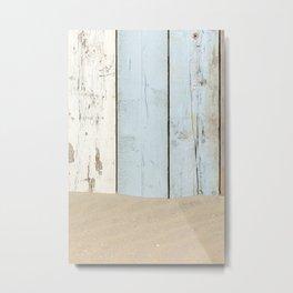 Sea Wood Plank And Sand Metal Print