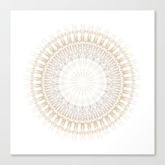 Beige White Mandala Canvas Print