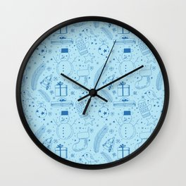Doodle Christmas pattern Wall Clock