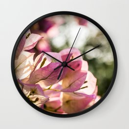 Pink Bougainvillea Wall Clock
