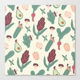 Girls love vegetables Canvas Print