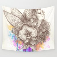 orchid Wall Tapestries featuring Orchid by Bea González