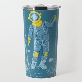 Plunger in old diving suit on the seafloor Travel Mug