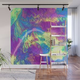 Abstract Fluid Painting with Glitter in Purple Blue and Neon Yellow Wall Mural