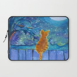 Cat on a fence in the moonlight Laptop Sleeve