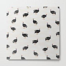 Guinea fowl bird pattern Metal Print