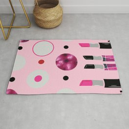Polka Dots and Lipsticks Rug