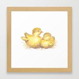 Baby Chick Watercolor Art, Baby Bird Painting, Nature Art Framed Art Print