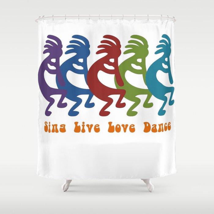 Sing Live Love Dance Tribal Kokopelli Shower Curtain By Taiche