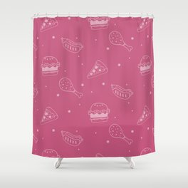 Fast Food Snacks Attack - Pizza Pie Hot Dogs Chicken Wings! on Pink Shower Curtain