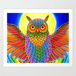 Colorful Rainbow Owl Art Print