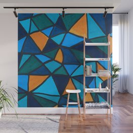 Blues and Gold Triangles Wall Mural