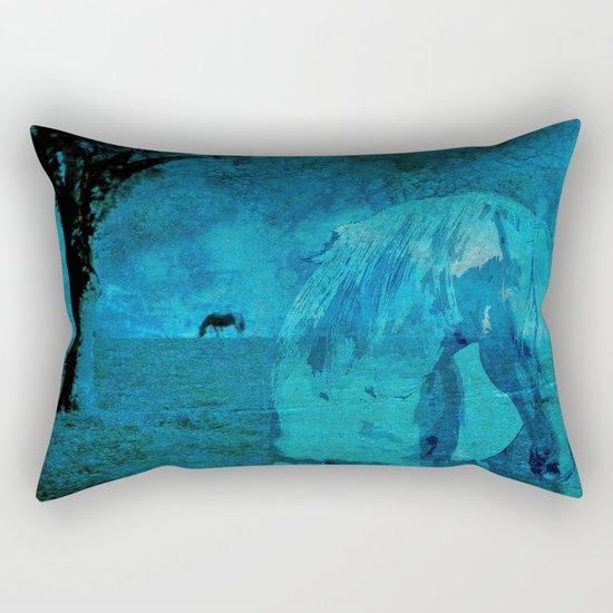 DREAM HORSE BLUE Rectangular Pillow