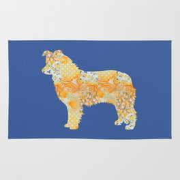 Border Collie Vintage Floral Pattern Orange Blue Yellow White Rug