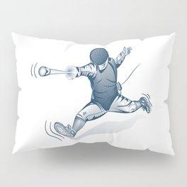 Fencer. Print for t-shirt. Vector engraving illustration. Pillow Sham