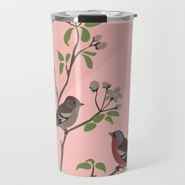 Peaceful harmony in the cherry tree - Illustration Travel Mug