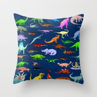 dinosaurs Throw Pillows featuring Dinosaurs by Raffaella315