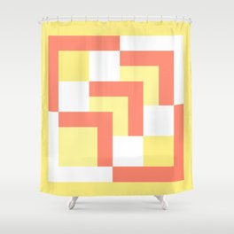 Squares Yellow + Salmon Shower Curtain