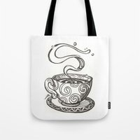 whisky Tote Bags featuring She drinks whisky in a tea cup by grishpradip
